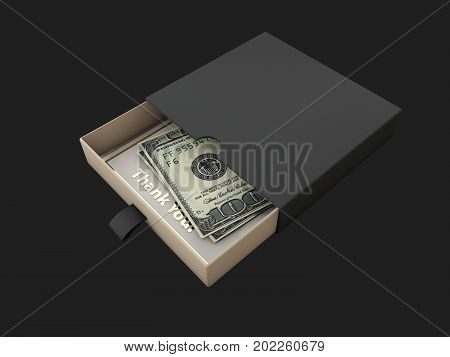 Donation Box with hand and money 3d Illustration.