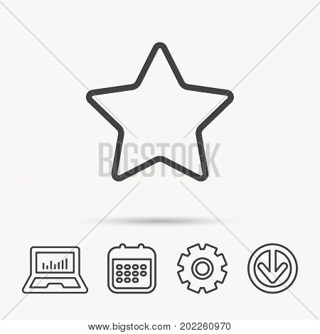 Star icon. Add to favorites sign. Astronomy symbol. Notebook, Calendar and Cogwheel signs. Download arrow web icon. Vector