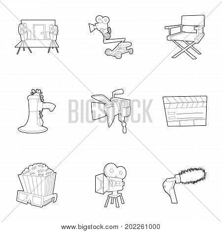 Movie production icons set. Outline set of 9 movie production vector icons for web isolated on white background