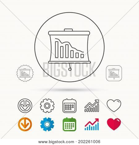 Statistic icon. Presentation board sign. Defaulted chart symbol. Calendar, Graph chart and Cogwheel signs. Download and Heart love linear web icons. Vector