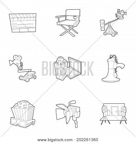 Filming icons set. Outline set of 9 filming vector icons for web isolated on white background