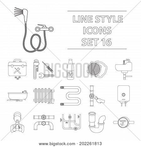 Plumbing set icons in cartoon style. Big collection of plumbing vector symbol.