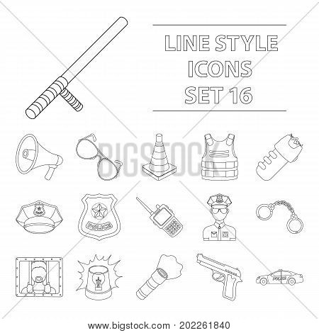 Police set icons in outline design. Big collection of police vector symbol stock illustration