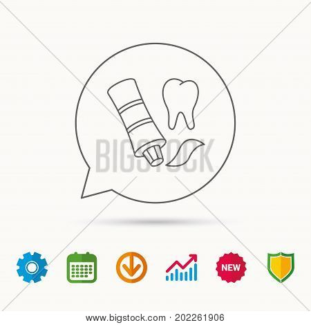 Toothpaste icon. Teeth health care sign. Calendar, Graph chart and Cogwheel signs. Download and Shield web icons. Vector