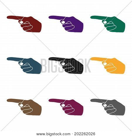 Index finger icon in black style isolated on white background. Hand gestures symbol vector illustration.
