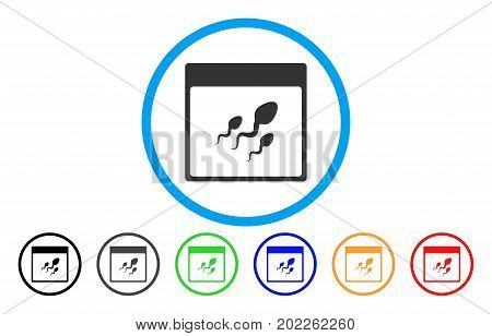Spermatozoids Calendar Page vector rounded icon. Image style is a flat gray icon symbol inside a blue circle. Additional color versions are gray, black, blue, green, red, orange.