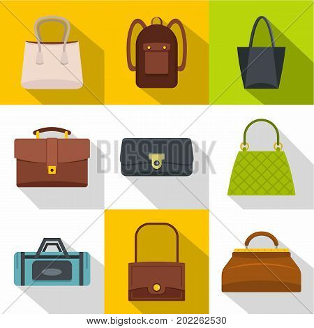 Different bagage icon set. Flat style set of 9 different bagage vector icons for web design