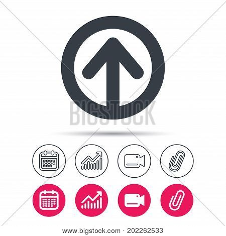 Upload icon. Load internet data symbol. Statistics chart, calendar and video camera signs. Attachment clip web icons. Vector