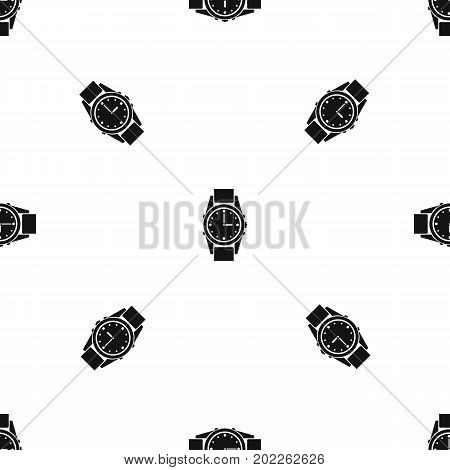Swiss watch pattern repeat seamless in black color for any design. Vector geometric illustration