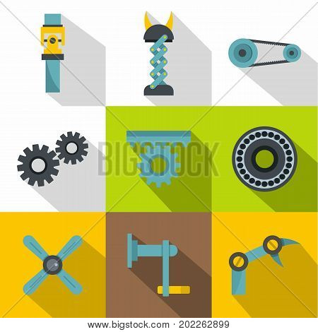 Mechanisms icon set. Flat style set of 9 mechanisms vector icons for web design