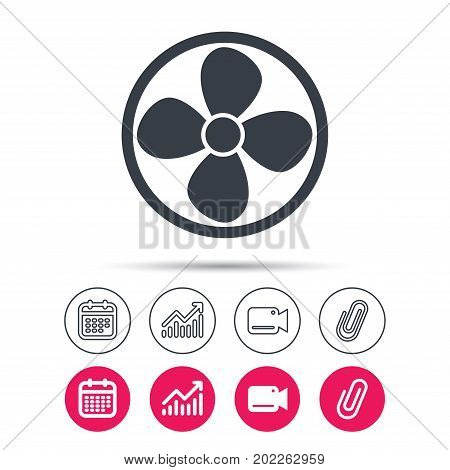 Ventilation icon. Air ventilator or fan symbol. Statistics chart, calendar and video camera signs. Attachment clip web icons. Vector