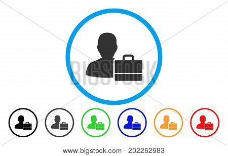 Accounter vector rounded icon. Image style is a flat gray icon symbol inside a blue circle. Additional color versions are grey, black, blue, green, red, orange.