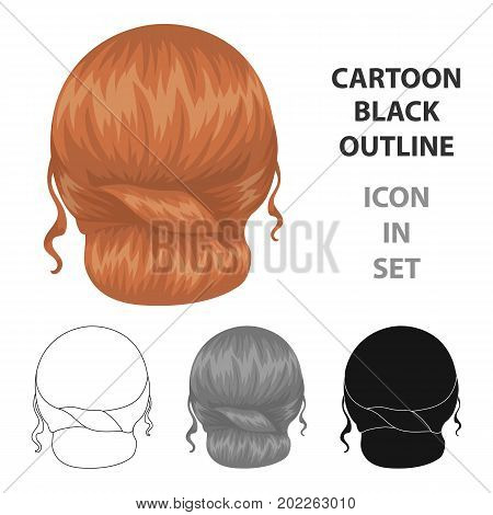 Red combed behind.Back hairstyle single icon in cartoon style vector symbol stock illustration .