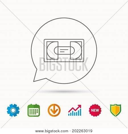 Video cassette icon. VHS tape sign. Calendar, Graph chart and Cogwheel signs. Download and Shield web icons. Vector