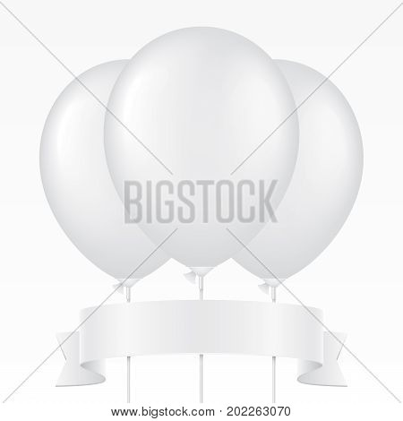 Bunch of white vector balloons on a plastic stick and waving ribbon, isolated on background. Realistic balloon illustration for party, celebration, festival, birthday or branding design decoration.