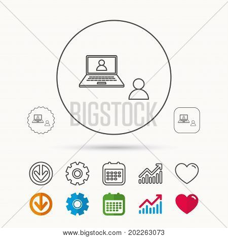 Video chat icon. Webcam chatting sign. Web conference symbol. Calendar, Graph chart and Cogwheel signs. Download and Heart love linear web icons. Vector