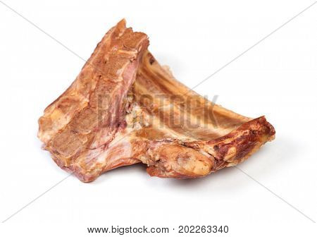 Piece of smoked meat isolated on white background