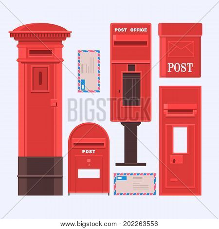 Vector illustration of mail boxes set. Vintage English letter-box.