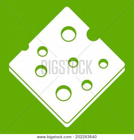 Cheese fresh block icon white isolated on green background. Vector illustration