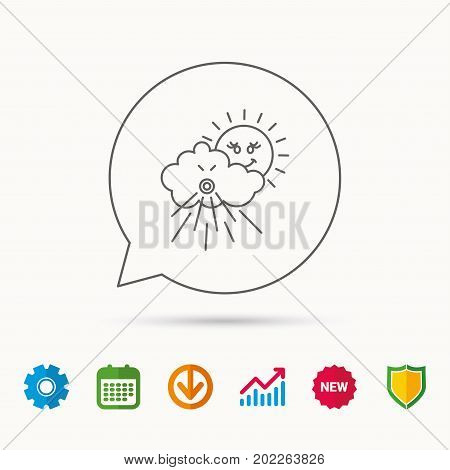 Wind icon. Cloud with sun and storm sign. Strong wind or tempest symbol. Calendar, Graph chart and Cogwheel signs. Download and Shield web icons. Vector