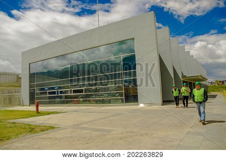 Quito, Pichincha Ecuador - August 27 2017: Unidentified people checking the metro construction located inside of the Bicentenario park, at north part of the city of Quito.
