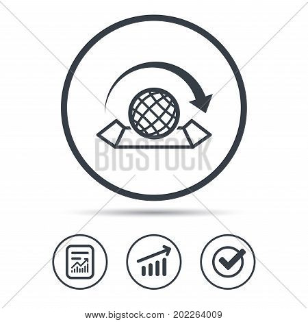 World map icon. Globe with arrow sign. Travel location symbol. Report document, Graph chart and Check signs. Circle web buttons. Vector
