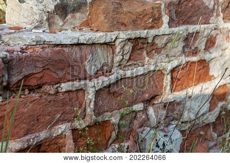 Detail Of Old Brick Wall From Abandoned Building. Old Brick Background.