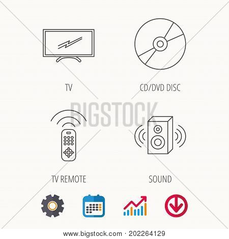 TV remote, sound and DVD disc icons. Widescreen TV linear sign. Calendar, Graph chart and Cogwheel signs. Download colored web icon. Vector