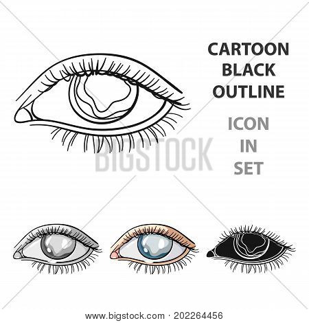 Blue eyes of a man who suffers from diabetes.Brilliant eyes from high blood sugar.Diabetes single icon in cartoon style vector symbol stock web illustration.