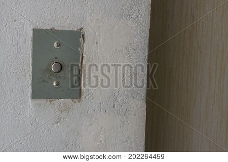 panel lift call button. Closed elevator doors