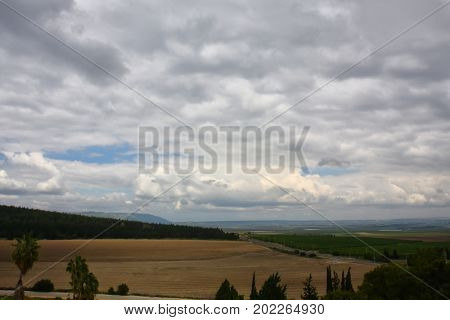 Biblical landscape of the Israeli valley in Galilee