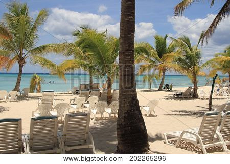 Exotic resort beach. Vacation on Caribbean sea.