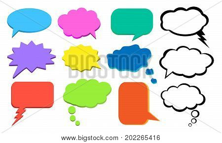 Think bubble colorful cloud of thoughts vector set