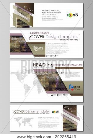 Social media and email headers set, modern banners. Business templates. Easy editable abstract design template, vector layouts in popular sizes. Abstract multicolored backgrounds. Geometrical patterns. Triangular and hexagonal style.