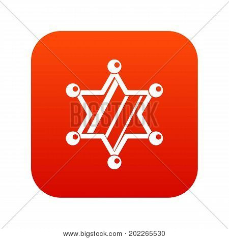 Sheriff star icon digital red for any design isolated on white vector illustration