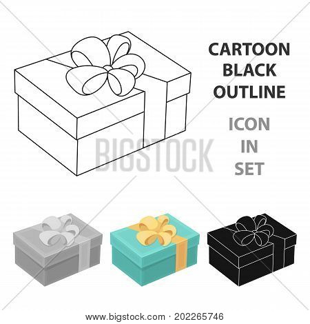 Blue gift for a holiday with an yellow bow.Gifts and Certificates single icon in cartoon style vector symbol stock web illustration.