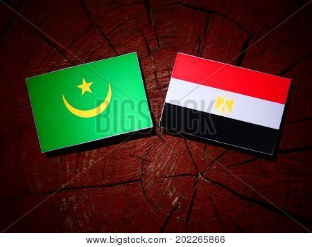 Mauritania Flag With Egyptian Flag On A Tree Stump Isolated