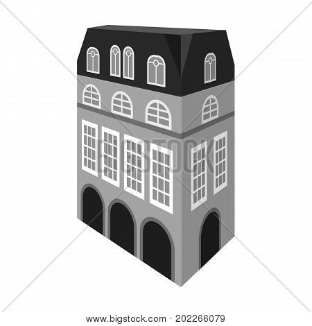 Typical English house. Architecture of the house single icon in monochrome style vector symbol stock illustration .