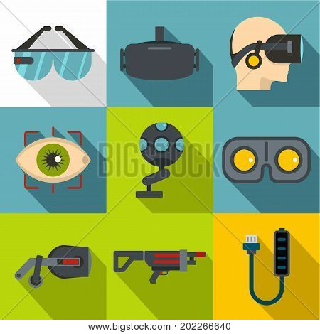 Virtual reality icon set. Flat style set of 9 virtual reality vector icons for web design