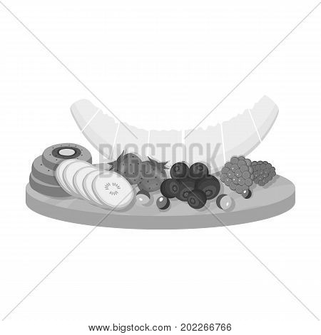 A set of various delicious fruits. Fruit single icon in monochrome style vector symbol stock illustration .