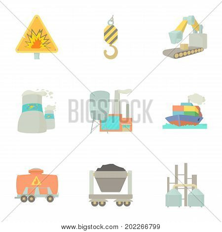 Heavy industry icons set. Cartoon set of 9 heavy industry vector icons for web isolated on white background