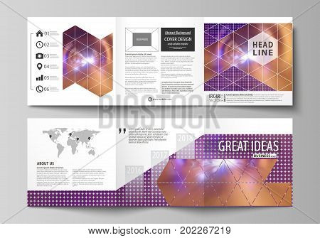Set of business templates for tri fold square design brochures. Leaflet cover, abstract flat layout, easy editable vector. Bright color colorful design, beautiful futuristic background.