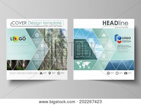 Business templates for square design brochure, magazine, flyer, booklet or annual report. Leaflet cover, abstract flat layout, easy editable vector. Colorful background made of triangular or hexagonal texture for travel business, natural landscape in poly
