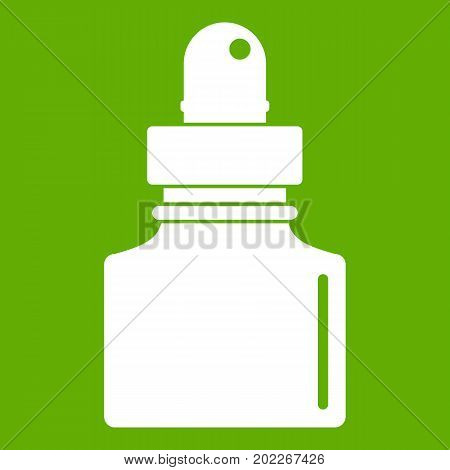 Black inkwell icon white isolated on green background. Vector illustration