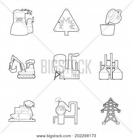Heavy industry icons set. Outline set of 9 heavy industry vector icons for web isolated on white background