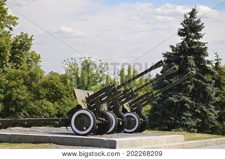 Military equipment cannon artillery in the park of the Great Patriotic War in Kiev Ukraine