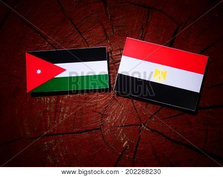 Jordanian Flag With Egyptian Flag On A Tree Stump Isolated