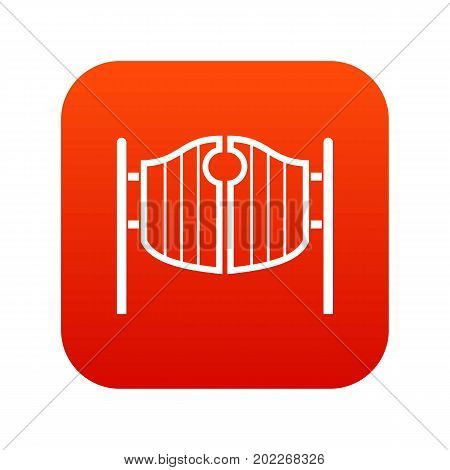 Vintage western swinging saloon doors icon digital red for any design isolated on white vector illustration