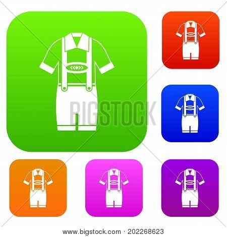 T-shirt and pants with suspenders set icon in different colors isolated vector illustration. Premium collection
