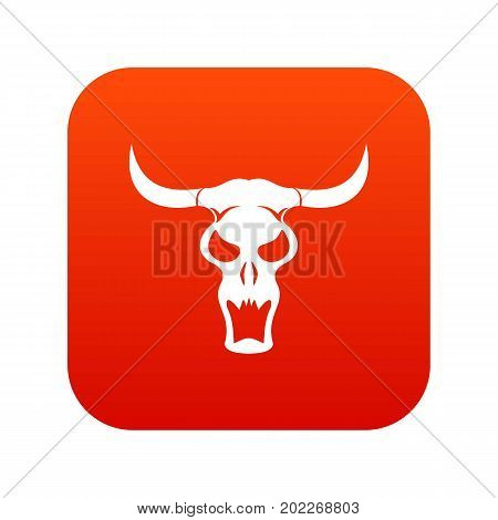 Buffalo skull icon digital red for any design isolated on white vector illustration